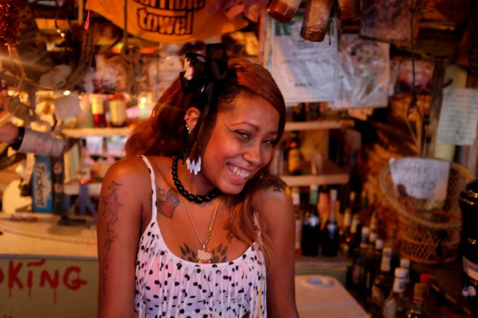 Barbie - crazy barkeeper at Bomba Shack