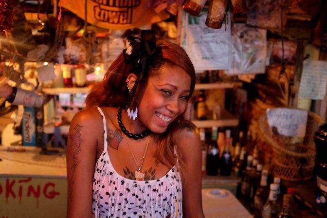 Barbie - crazy barkeeper at Bomba Shack
